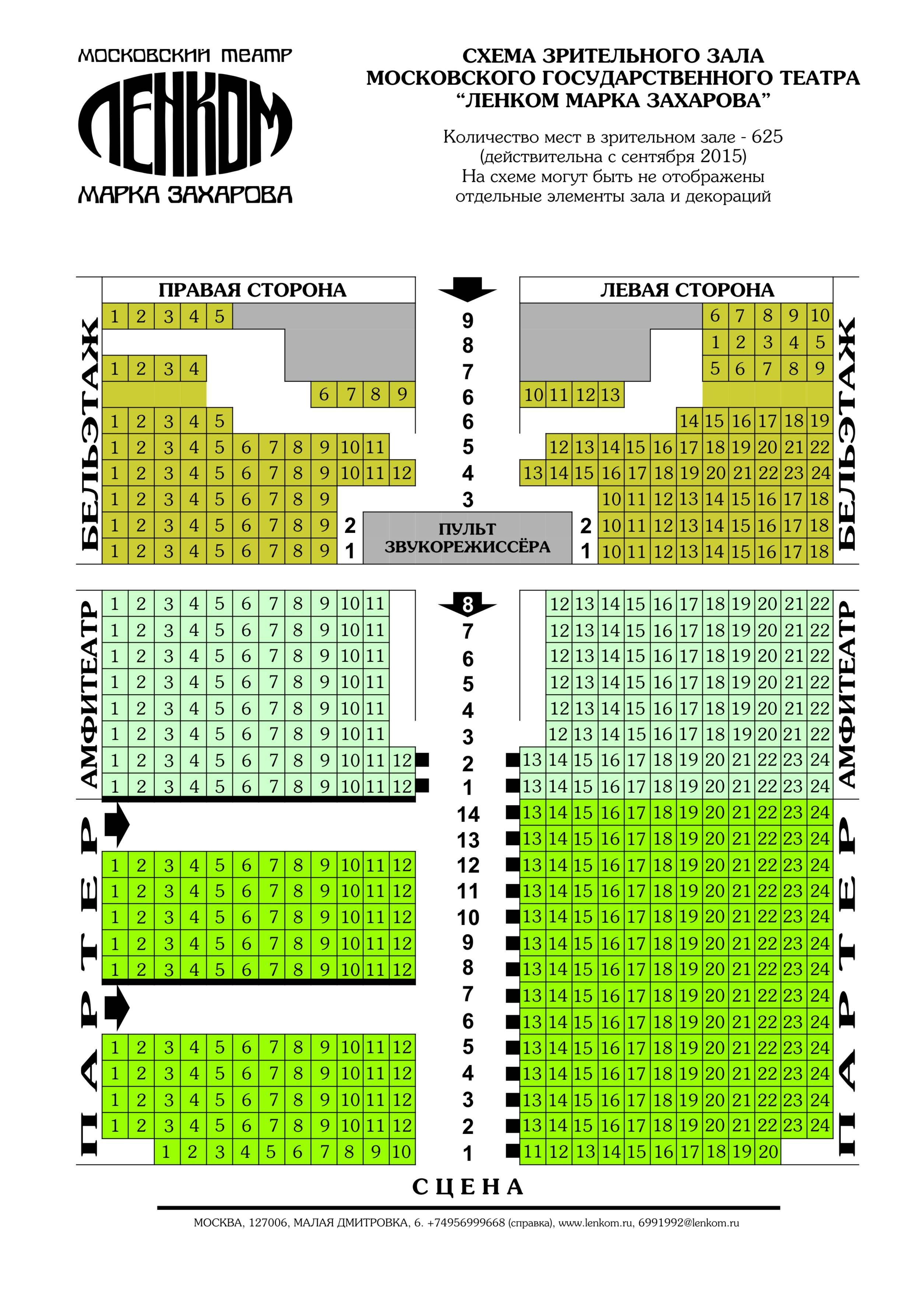 Схема зрительного зала театра ленком